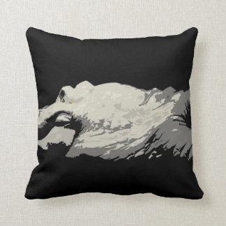 white albino alligator graphic bw head body pillow
