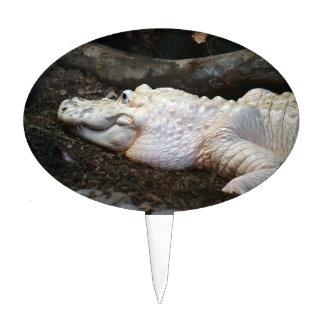 white albino alligator watercolor style image cake topper