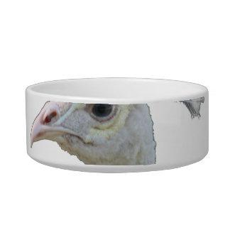 White albino peacock head cutout bowl