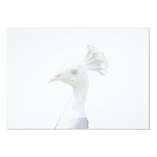 White albino peacock head cutout 5x7 paper invitation card