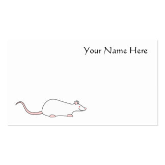 White Albino Pet Rat Business Card Template
