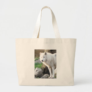 White albino wolf spirit - Therian gifts Large Tote Bag