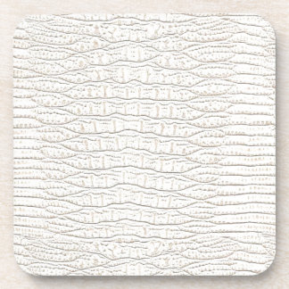 WHITE ALLIGATOR SKIN DESIGN. BEVERAGE COASTER
