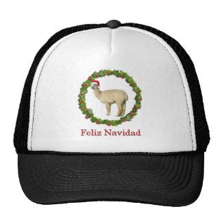 White Alpaca Feliz Navidad Wreath Trucker Hat