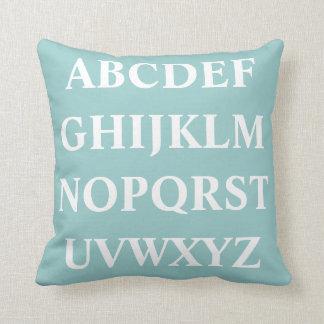 WHITE ALPHABET on baby blue pastel pillow