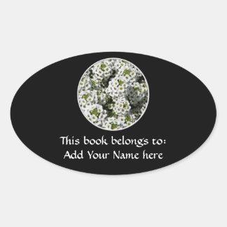 White Alyssum Oval Sticker