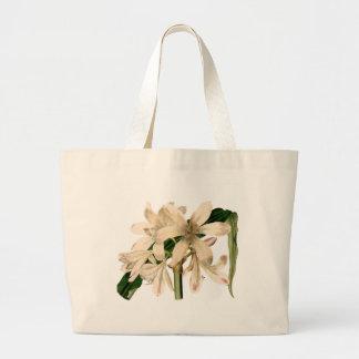 White Amaryllis Botanical Print Large Tote Bag