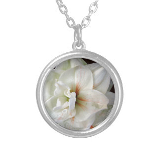 White Amaryllis Silver Plated Necklace