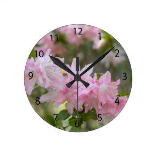 White amd Pink Azaleas Round Clock