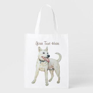White American bulldog panting original art Grocery Bag