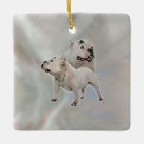 White American Bully Ceramic Ornament