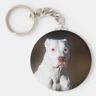 White American Pitbull Terrier Rescue Dog Basic Round Button Keychain