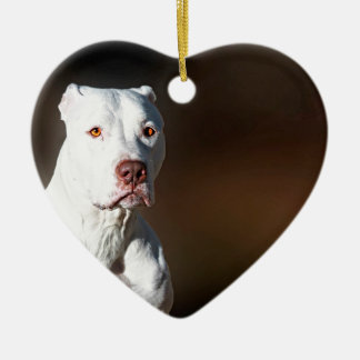 White American Pitbull Terrier Rescue Dog Ceramic Ornament