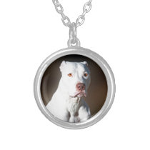 White American Pitbull Terrier Rescue Dog Silver Plated Necklace