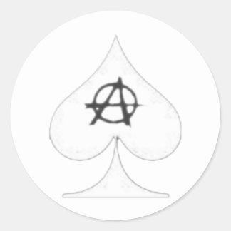white anarchitect spade classic round sticker
