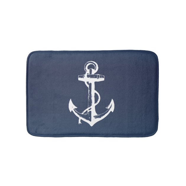 White Anchor And Navy Blue Bath Mat Zazzle Com