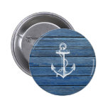 White Anchor And Vintage Blue Wood 2 Inch Round Button
