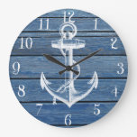 White Anchor And Vintage Blue Wood Large Clock