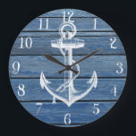 """White Anchor And Vintage Blue Wood Large Clock<br><div class=""""desc"""">A white anchor and vintage faded blue wood panels.A popular design on wood texture background. The perfect unique gift for every occasion</div>"""