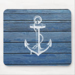 White Anchor And Vintage Blue Wood Mouse Pad