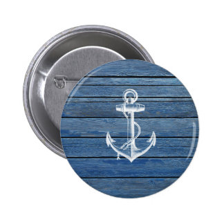 White Anchor And Vintage Blue Wood Pinback Button
