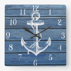 White Anchor And Vintage Blue Wood Square Wall Clock at Zazzle