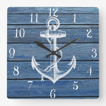 kicksdesign White Anchor And Vintage Blue Wood Square Wall Clock