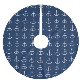 White Anchor Brushed Polyester Tree Skirt