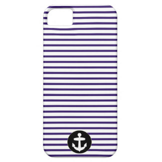 White Anchor circle and Navy Blue Sailor Stripes iPhone 5 Cases