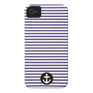 White Anchor circle and Navy Blue Sailor Stripes iPhone 4 Covers