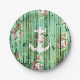 White anchor floral summer green rustic wood paper plate