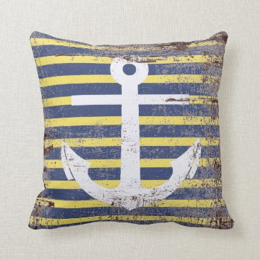 Beach Themed White anchor in striped background simulating aged throw pillow