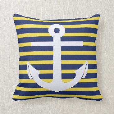 Beach Themed White anchor in striped background throw pillow