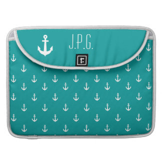 White Anchor Monogram Repeating Pattern Sea Green Sleeve For MacBooks