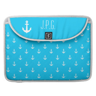White Anchor Monogram Repeating Pattern Turquoise Sleeve For MacBooks