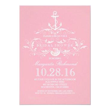 Beach Themed white anchor nautical pink bridal shower invite