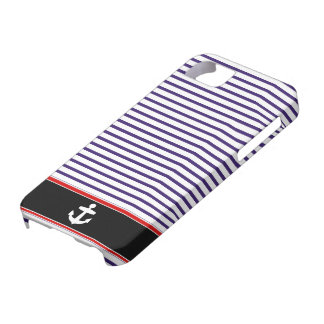 White Anchor on black and Navy Blue Sailor Stripes iPhone 5 Cases