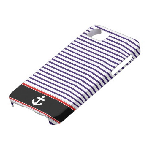 White Anchor on black and Navy Blue Sailor Stripes iPhone 5 Covers