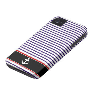 White Anchor on black and Navy Blue Sailor Stripes Case-Mate iPhone 4 Cases