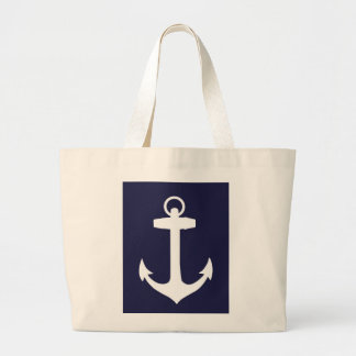White Anchor on Navy Blue Background Tote Bag