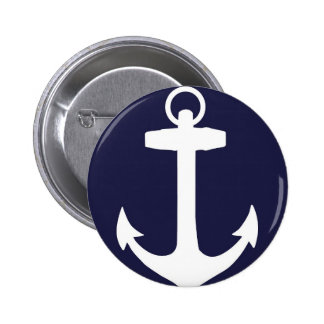 White Anchor on Navy Blue Background Button