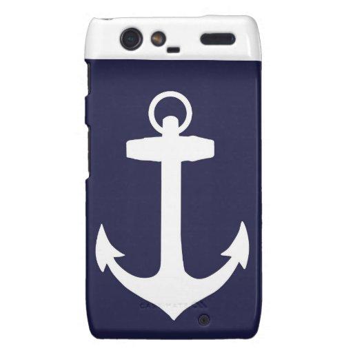 White Anchor on Navy Blue Background Motorola Droid RAZR Case