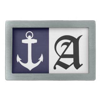 White Anchor on Navy Blue Background Rectangular Belt Buckle