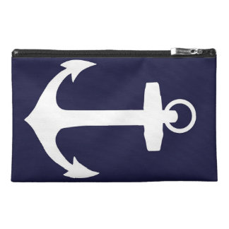 White Anchor on Navy Blue Background Travel Accessories Bag