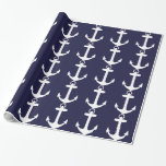 White Anchor on Navy Blue Background Gift Wrapping Paper