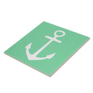 White Anchor on Pale Turquoise Ceramic Tile