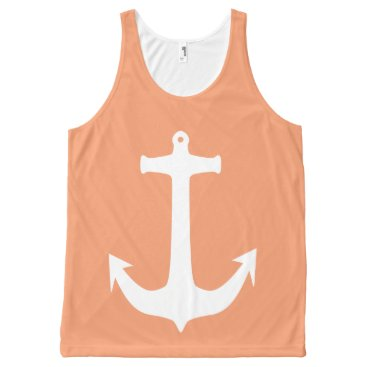 Beach Themed White Anchor on Peach Background All-Over-Print Tank Top