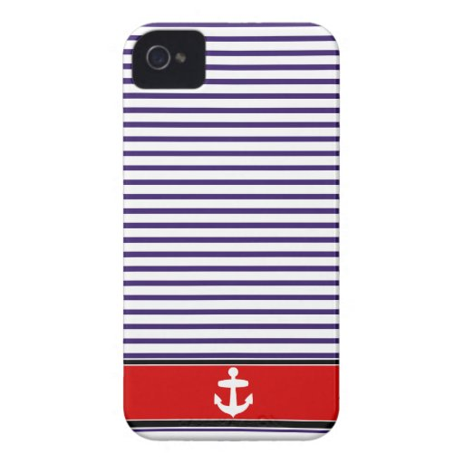 White Anchor on red and Navy Blue Sailor Stripes iPhone 4 Cases
