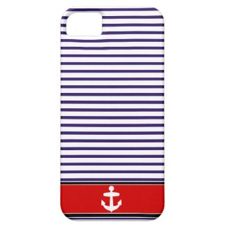 White Anchor on red and Navy Blue Sailor Stripes iPhone 5 Covers