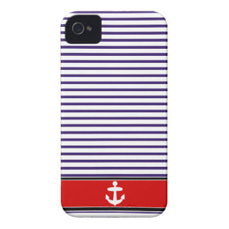 White Anchor on red and Navy Blue Sailor Stripes iPhone 4 Case
